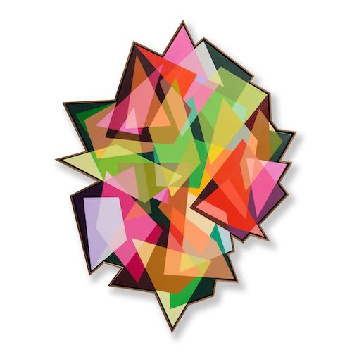 A010 : 140 : 125 :21 -178 CM X 140 CM - Spray paint & acrylic on shaped canvas - FRAMMED IN KIAAT
