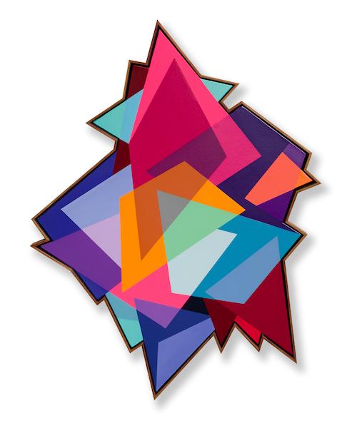 A013 : 37 : 31 : 21 - 145 CM X 110CMSpray paint & acrylic on shaped canvas - FRAMMED IN KIAAT